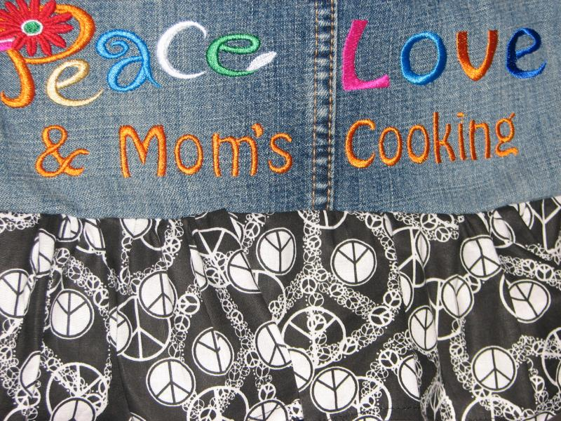 Peace, Love & Mom's Cooking Retro Denim Apron
